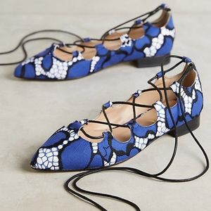 {billy ella} lace-up pointy flats NWOT